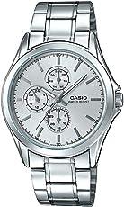 Casio 卡西欧 MTP-V302D-7A 男式多手不锈钢银色表盘模拟手表