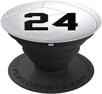 排球 24 - 排球号码 24 - PopSockets 手机和平板电脑抓地力与支架260027  黑色