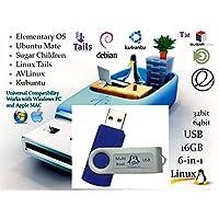 Linux 6 合 1 操作系統集安裝/恢復多重引導 USB 閃存拇指驅動 PC 和 MAC