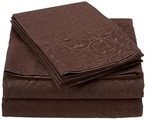 Elegant Comfort 奢华丝滑柔软舒适 4 件套床单套装美丽设计起皱 巧克力棕色 全部 VineSheets-Full Chocolate