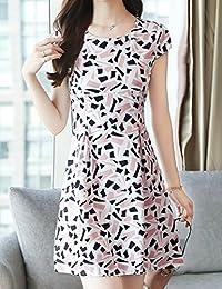 杨埔 夏季女装韩版短袖修身印花裙 显瘦气质清新印花连衣裙百搭时尚打底连衣裙夏修身裙