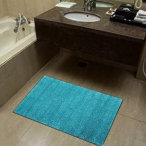 纯棉奢华触感浴室垫 | 耐用淋浴垫 | 超吸水性可机洗浴室地毯 | (2 件装)| Sheen Decor 出品的浴垫系列 Soft Upended - Aqua Pack of 1 - 20X32 Inches