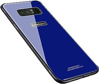 HONTECH Galaxy Note 8 保护壳,硅胶防震钢化玻璃背面边框保护套 适用于 Galaxy Note8