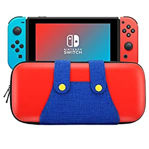 MoKo 任天堂 Switch 手提箱,便携式保护硬壳保护套旅行手提箱收纳袋,带 10 个游戏盒支架,适用于 Nintendo Switch 控制台