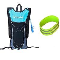 GRESATEK 水袋背包,带 2 升/70 盎司水囊超轻帆布背包,散步自行车,远足露营,滑雪,反光带,**