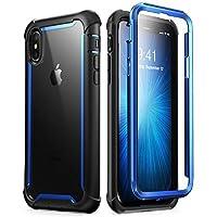 iPhone Xs 手机壳,iPhone X 手机壳,i-Blason [Ares]全包坚固透明防撞保护套,内置屏幕保护膜,适用于 iPhone Xs 5.8 英寸(2018 版本) 蓝色