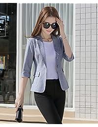 法贝莱 2018秋季新款女装韩版修身西服大码复古休闲小西装外套亚麻西装外套女9821