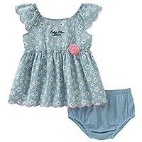 Calvin Klein 婴儿女童 2 件牛仔连衣裙与束带内裤