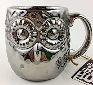 美丽的银猫头鹰豪华数字形状马克杯 453.59 毫升