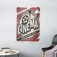 Ambesonne 复古装饰挂毯,复古电影电影复古纸质感好莱坞星装饰设计,卧室客厅宿舍装饰,宽 101.6 x 长 152.4 厘米,米黄色 深灰色