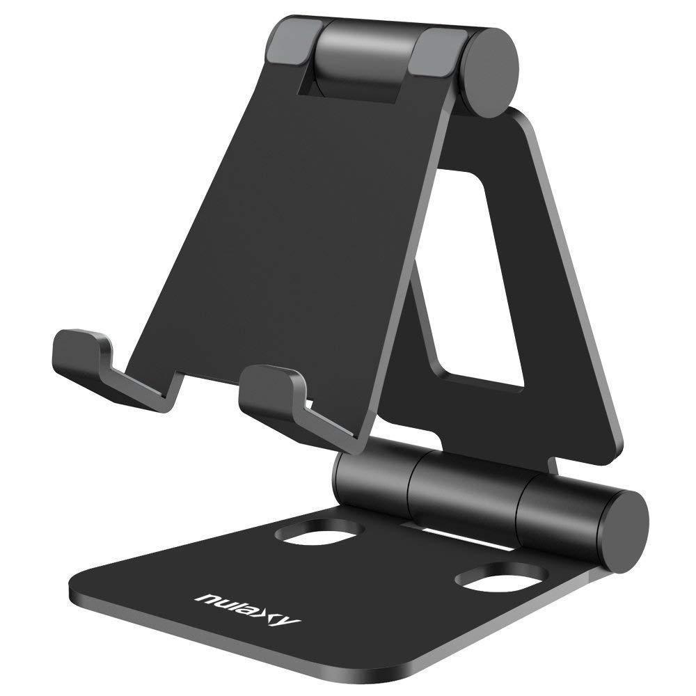 任天堂スイッチデスクトップスタンド付きNulaxy折り畳み式タブレット型携帯電話ホルダーは、iPadのエアProのiPhone X 8 7 6プラス、サムスンゲイロード・ワールド]タブ、Androidのスマートフォン、タブレットPC(4-10インチ)の電子リーダー、黒に適しています