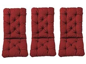 ambientehome 3件套装高靠背椅垫靠垫 Hanko 马克西, CA 120 x 50 x 8厘米, 背面部分 CA 70厘米, 坐垫版 红色