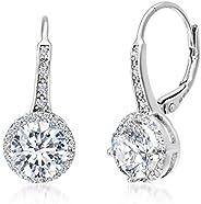 Mia Sarine 女式方晶锆石光环杠杆耳环镀铑纯银耳环