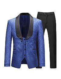 Boyland 男士 3 件套燕尾服优雅提花皇家蓝修身西装(加大夹克+背心+裤子)