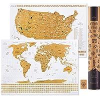 Scratch Off Travel Map World & USA National Parks 2 合 1 - 大号 24x17 优质层压海报纸 - 世界和美国墙海报带旗帜,艺术着色页和划痕工具 - 旅行者礼物 (2 in 1) Large 24x17 Scratch Off World & Usa Map - Original