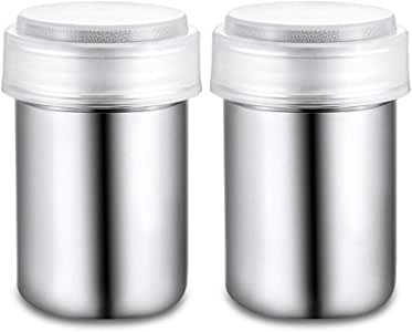 LOHOME 不锈钢花式咖啡可可粉碎摇摇摇摇摇摇摇铃,配有细网状盖和半透明塑料盖,适合在家烘焙和烹饪/饭店 2 PC COMINHKPR122528