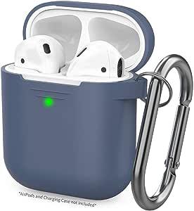 Tech Ex 保护型Airpod 保护套带登山扣【前置 LED 可见】支持无线充电硅胶套,适用于 Apple Airpods 1 和 2 个充电盒便携式耳塞配件