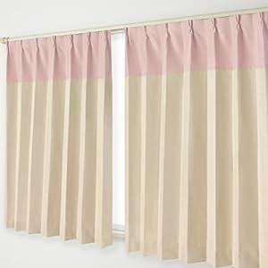 遮光窗帘 B挂钩 24.ピンクヘッド×ベージュ 幅125×丈215cm 2枚組 -