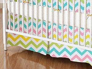 SheetWorld - MINI 婴儿床裙 (60.96 x 99.06 cm) - Pastel Chevron - 美国制造