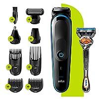 BRAUN 博朗 9合1剃须机,5 MGK5280,胡须修剪器适用于男士,理发师和美容师,带自动感知技术和7个附件,黑色/蓝色,英国双孔插头