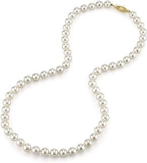珍珠球 14K 金圆形正品白色日本 Akoya 海水养殖珍珠项链 45.72 厘米公主长度 女式