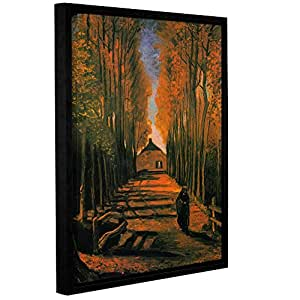 ArtWall Vincent Van Gogh's Avenue of Poplars in Autumn Gallery Wrapped Floater Framed Canvas Set, 14 by 18-Inch
