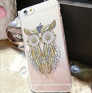 iPhone 6/6S 手机壳,Blingy's Bird Style 系列印花防滑弹性柔软纤薄透明橡胶 TPU 手机壳适用于 Apple iPhone 6/6S(4.7 英寸屏幕) Owl Dream Catcher