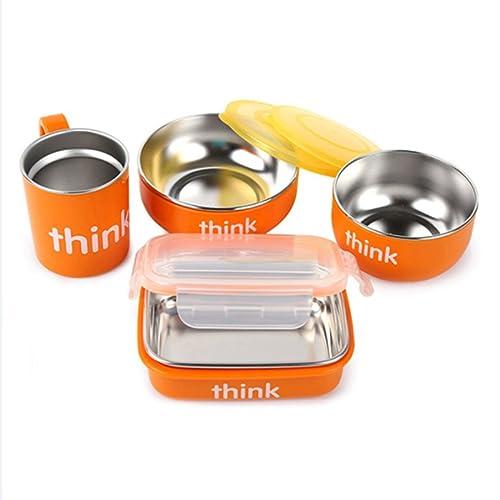 美国进口 Thinkbaby不锈钢儿童餐具4件套(饭盒、汤碗、餐碗、水杯)喂养套装