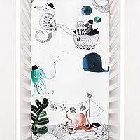 Rookie humans 100% 棉质棉缎床笠婴儿床床单:水下 LOVE 现代育儿,使用 AS 照片背景 for YOUR 婴儿 pictures 标准婴儿床尺码 (40.64cm x 50.80cm) Organic Cotton Sateen