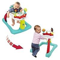 Kolcraft Tiny Steps 2 合 1 活动学步器 – 座椅或行走位置,易折叠,可调节座椅高度,宝宝玩耍玩具和活动,Jubliee