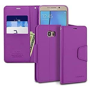 Galaxy Note 5 手机壳,ModeBlu 钱包手机壳 ID 信用卡现金插槽高级合成皮革[立式视图] 适用于三星 Galaxy Note 55430053 经典紫色
