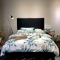 婉寇60支长绒棉贡缎纯棉四件套简约床上用品全棉印花1.5/1.8m床 被套床单套件 (北欧风, 1.8米床适用【被套220*240cm】)