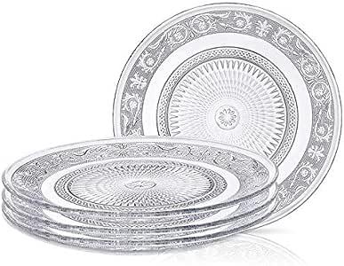 Klikel 透明玻璃色拉盘 | 4 件套 | 叶草蚀刻图案 - 17.78 厘米 Saled Plates 21201