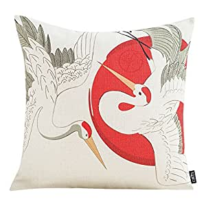 MR FANTASY Throw Pillow Cover Case Japanese Ukiyoe Cushion Cover for Couch Sofa Home Decor, Square Pillow Shell 18''x18'', Christmas Holiday Gift