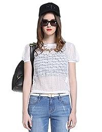 Five Plus 女式 纯色镂空宽松短袖针织衫两件套 2152030510