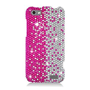 Eagle Cell PDHTCONEVS322 RingBling Brilliant Diamond Case for HTC One V - Retail Packaging - Hot Pink/Silver Divide