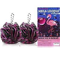 Mega Loofah 深灰色丝瓜 - 沐浴海绵,含大去角质球,适合女士,男士 - 温和,去角质洗浴磨砂膏 - 柔软沐浴刷,环保黑色网眼 - 80 克*,2 件装