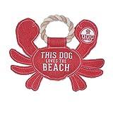 Pavilion - This Dog Loves The Beach - 27.94 cm 大帆布 大号 螃蟹形状狗绳玩具 - 坚固耐用