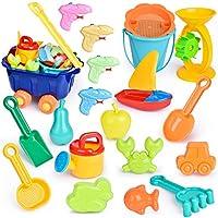 20 件儿童沙滩玩具套装,儿童户外玩具,夏季有趣的沙子和沙箱玩具