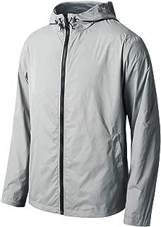 Xtextile 男士跑步风衣轻质连帽防风透气夹克