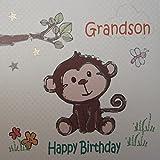 WHITE COTTON CARDS Grandson 生日快乐手工卡片 Cheeky Monkey
