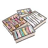 4 件套可折叠收纳盒,胸罩、袜子和围巾收纳盒,衣橱内衣整理抽屉隔层 奶油色 Box-S4-Divider-Cream