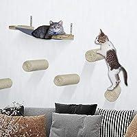 Yokstore 壁挂式猫抓板架 - 7 件套悬浮剑麻猫抓板阶梯带猫吊床适合*玩耍爬山躺椅猫用品