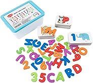 Wondertoys 木制字母和数字拼图匹配字母游戏学前教育玩具礼品,36 张抽认卡和 36 张木质拼图