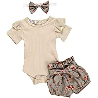 Adreamess 3 件套衣服套装婴儿幼儿女婴衣服荷叶边连身衣连体衣花卉哈伦裤头带套装