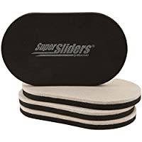 """Furniture Movers & Sliders for Heavy Furniture for Hard Floor Surfaces (4 Pack) - Felt Oval SuperSliders, 3-1/2"""" x 6"""""""