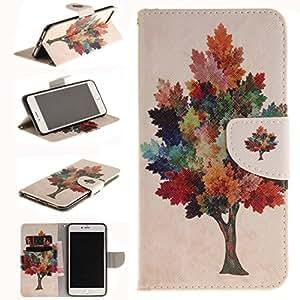 iPhone 7 Plus 手机壳,Newshine 皮革【钱包手机壳】适用于 Apple iPhone 7 Plus 5.5 英寸 2016 年发行【支架】对开保护套带信用卡身份证夹EL-252191 1 Colorful Tree