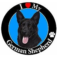 """ I LOVE MY 德国牧羊犬 "" 黑色汽车磁贴与逼真想要德国牧羊犬照片 IN THE 中心盖 UV 光泽适用于天气和褪色保护圈形状 Magnet 措施25.4CM 直径"