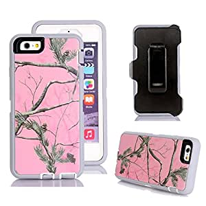 iPhone 6s 手机壳,Harsel Defender 系列重型树迷彩抗冲击硬混合混合军事带皮带扣屏幕保护膜外壳适用于苹果 iPhone 6s / iPhone 6 Tree/Pink