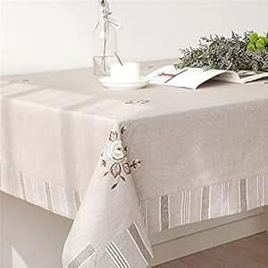 LUCKYHOUSEHOME 牧场刺绣加厚涤纶面料方形矩形桌布家庭餐桌布 牡丹花色 33 x 33 inches(85 x 85cm)